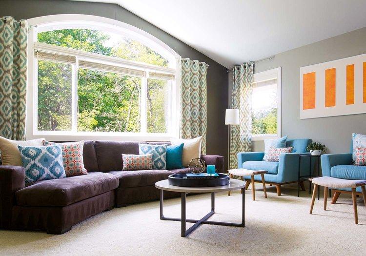 modern designed living room with trendystylish sofa