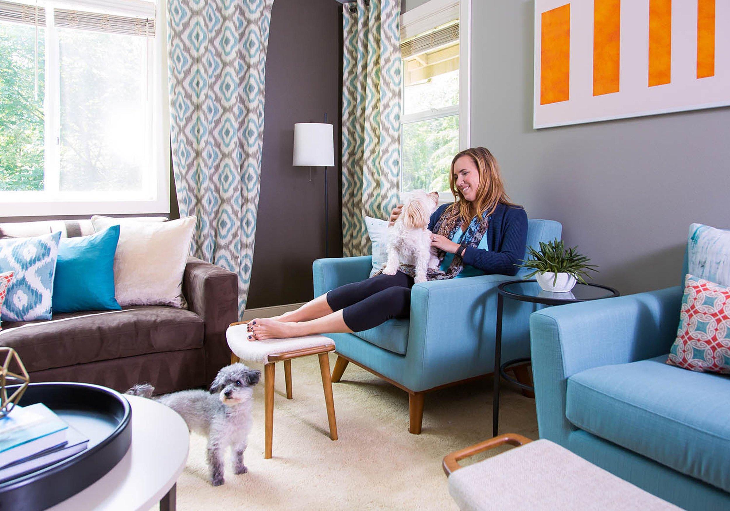 modern designed living room with stylish sofa