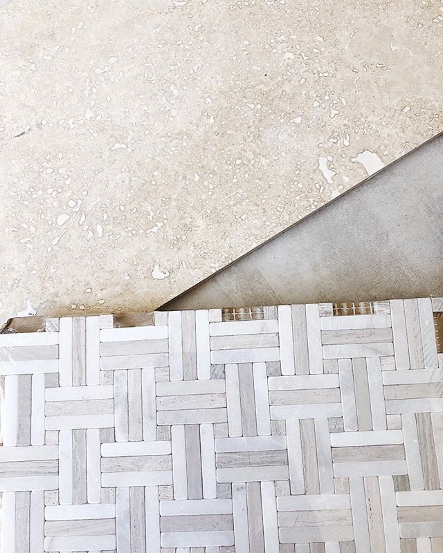 Sourcing tile today-one of my favorite parts of a bathroom design! My formula is 3 different kinds: one on the walls (wall to wall, floor to ceiling), one on the floors and a smaller accent on the shower pan. It keeps it from getting complicated and covering every wall makes such a high impact!