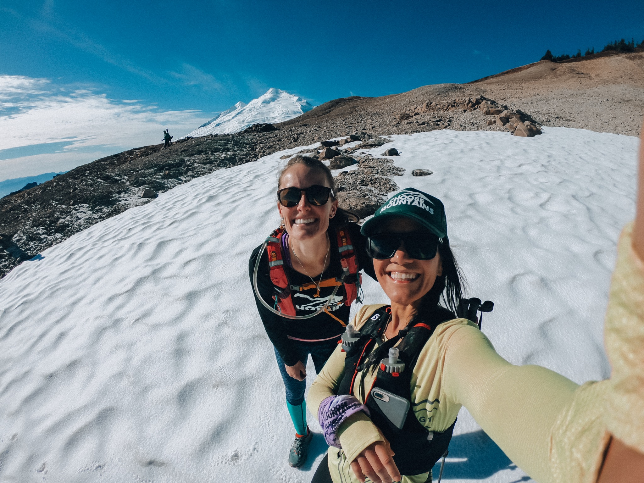 Becca and I on a little patch of snow on the Ptarmigan Ridge trail