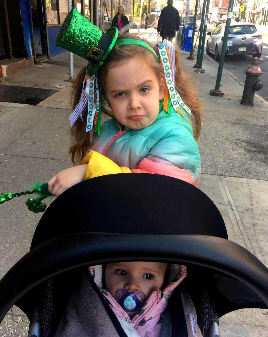 This is Beau and Harlow who are real Irish (read: mom and dad born in Ireland) and live in Brooklyn. They are assimilating quite well to the American Irish holiday fashion.