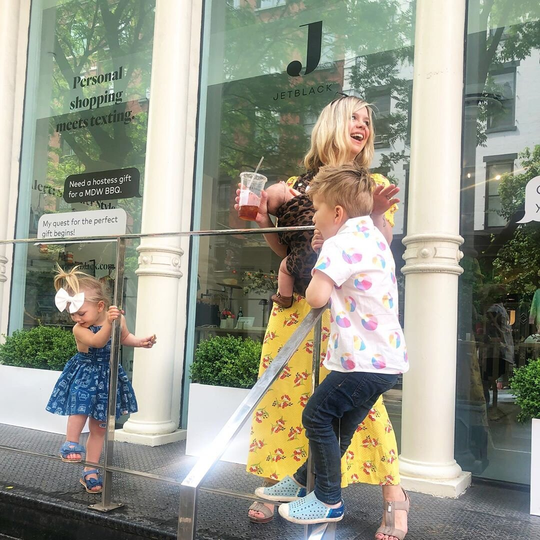 Megan and her tiny human crew outside Jetblack