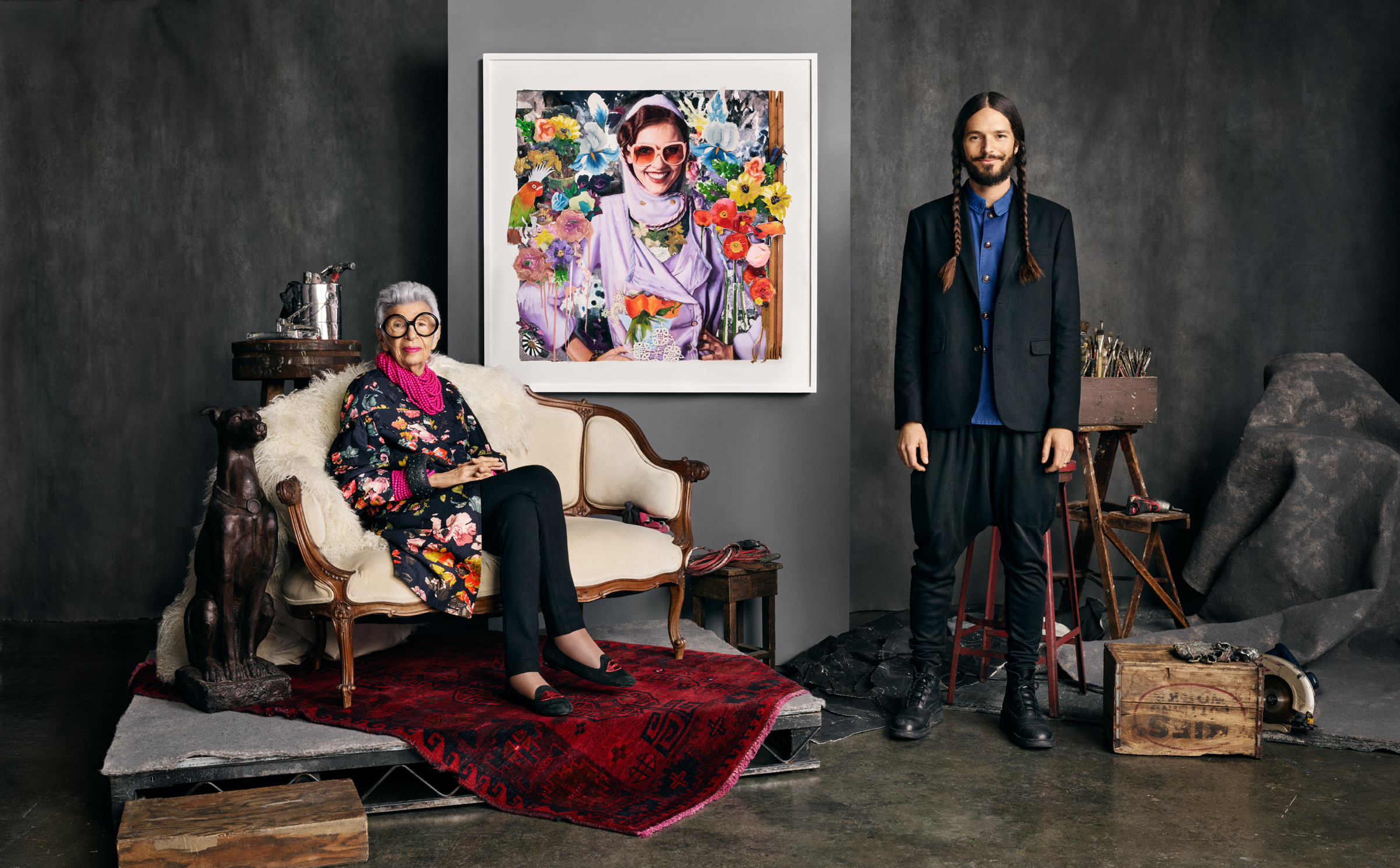 James Gortner with fashion icon Iris Apfel for TWYLA