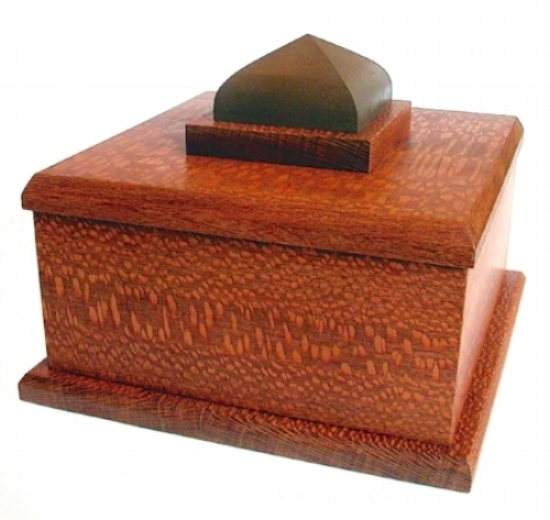 Orchha    – 2012 – Funerary Urn based on the Orchha Palace, India.    35cm W x 35cm L x 25cm H – with Suede lined inner compartment.    Lacewood /Dyed Maple / Suede / Beeswax. SOLD