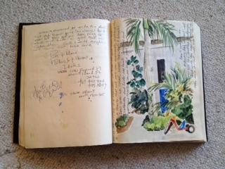 Original artwork in our logbook by artist Susan Martin, Florida