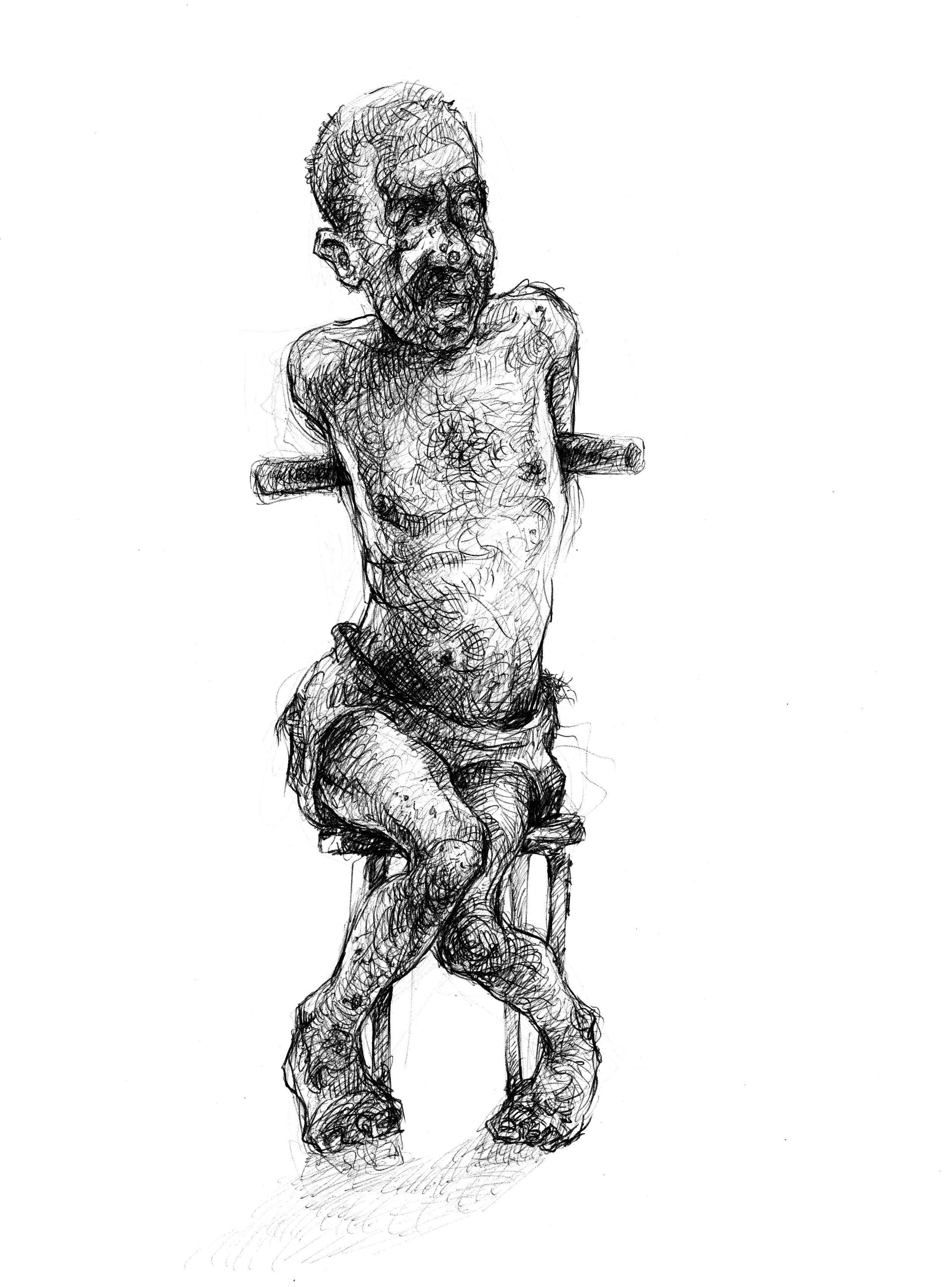 Elchocker, rep och bildäck. - En fånge sitter på en pall av metall med ett stålrör under armarna för att kunna ges elchocker under förhöret. En annan ligger upp och ned på huvudet – han ska få ett bildäck trätt över sig så att han därefter sitter fast.