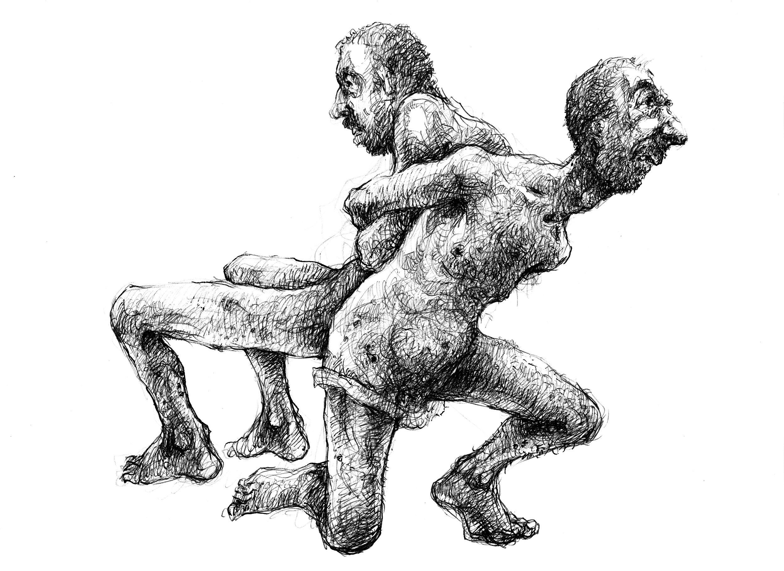 Fastbundna i varandra. - Två fångar är ihopbundna rygg mot rygg när de ska överföras till ett annat förhörscenter.