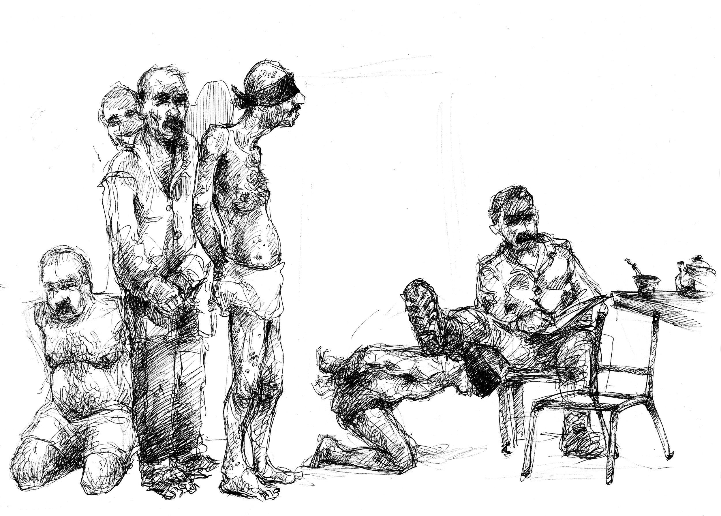 Förnedringens vardag. - En fångvaktare förnedrar fångarna genom att trycka ned dem med sina skor. En annan använder ett järnrör av samma anledning. Fångvaktarna dricker te och röker cigaretter under tortyren och förhören.
