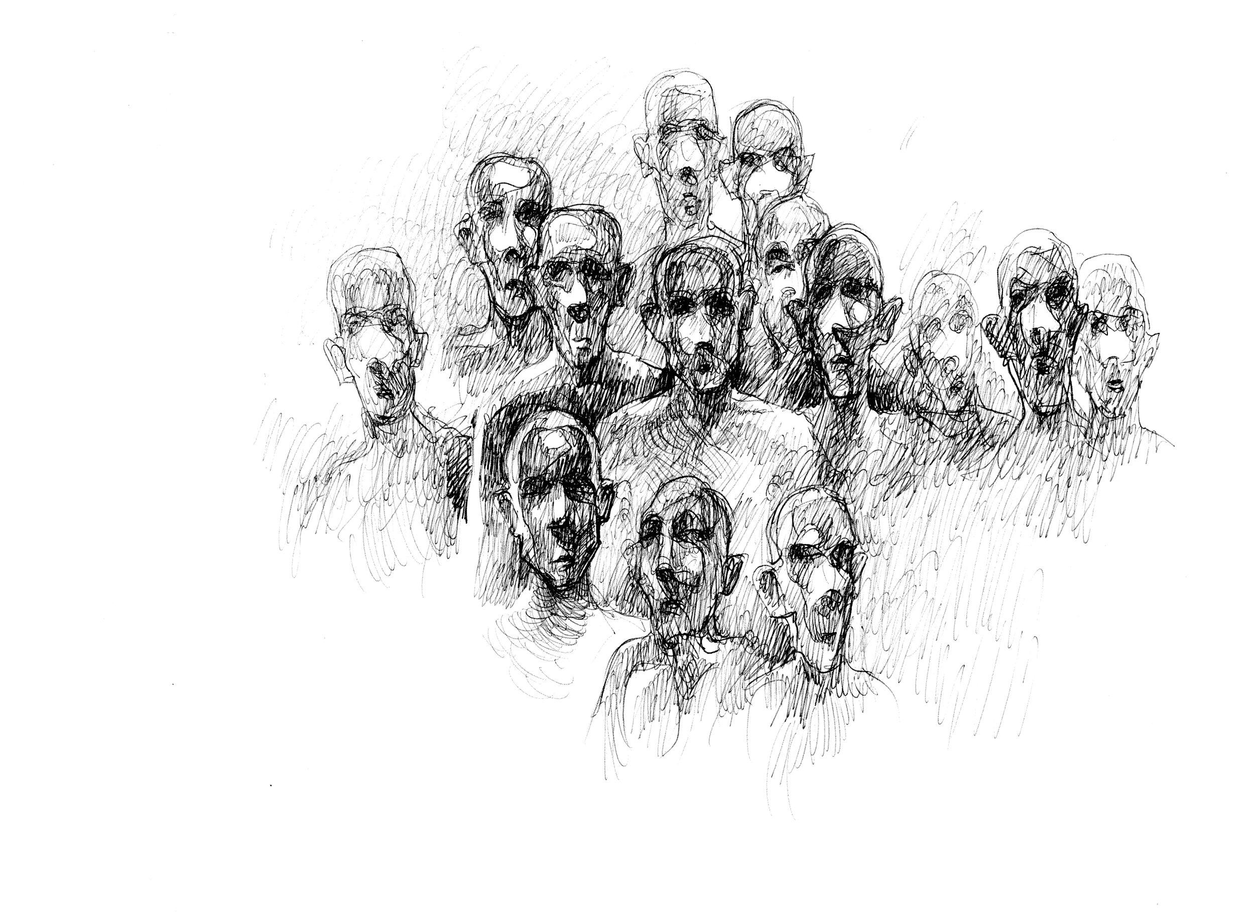 Tortyren gör fångarna galna. - Fångarna blir galna, de förlorar förståndet. Samtliga teckningar har Najah al-Bukai ritat ur minnet baserat på vad han såg och upplevde på den syriska militärens underrättelseavdelning 227 i Damaskus. En del av tortyrmetoderna, som den Tyska stolen, kommer från Nazityskland. Efter att nazistregimen störtats sökte sig tyska officerare till Syrien för att gömma sig. Väl där rekryterades de för att införa samma förhörsmetoder av fångar som nazisterna använt sig av.