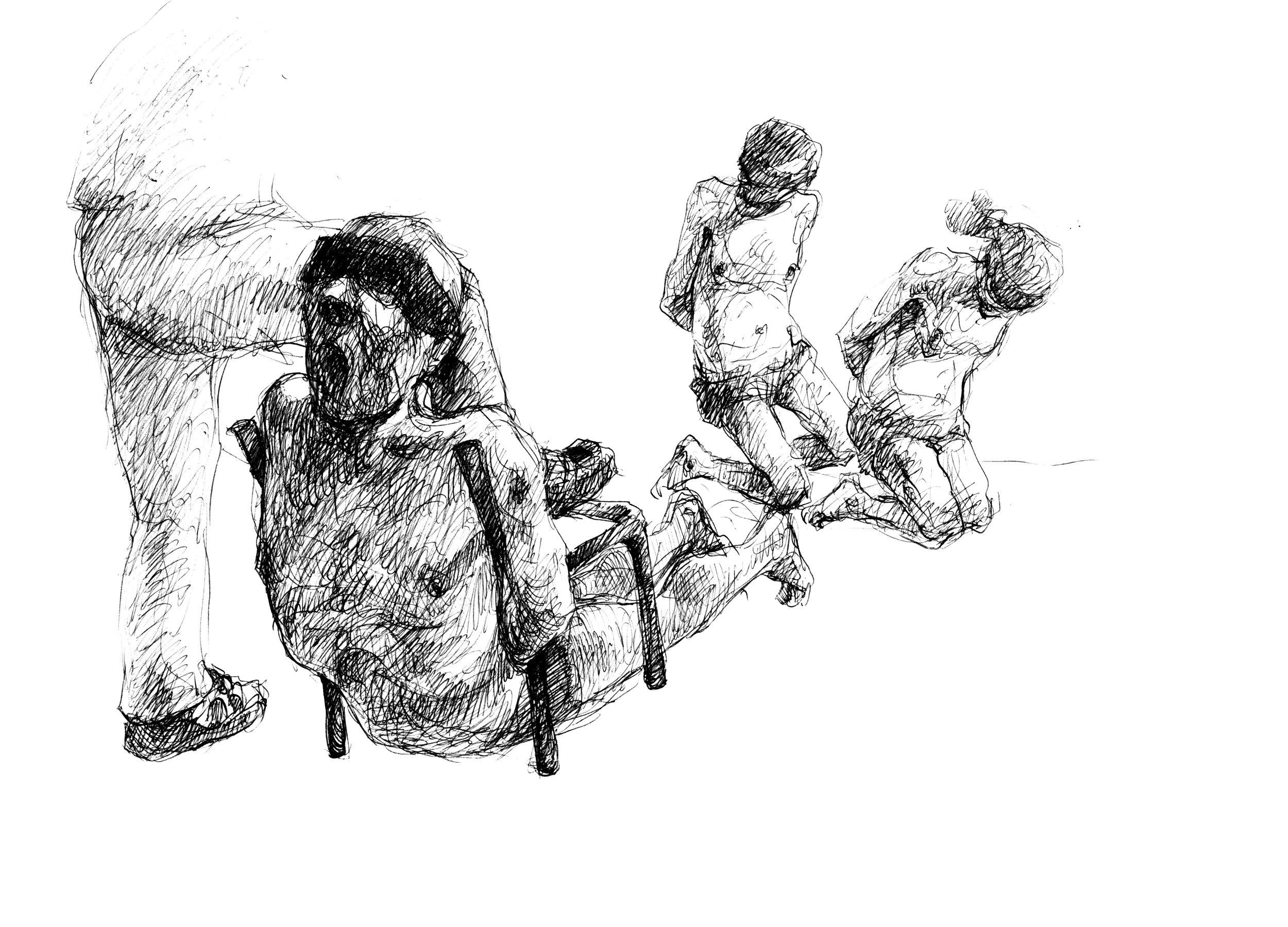 Tvingades bära hundratals lik. - Här ses fyra fångar som bär på ett lik i ett lakan. De är tvingade att enbart vara klädda i kalsonger för att ingen skulle komma på idén att rymma. Under 70 dagar var Najah al-Bukai med och förflyttade mellan 360 och 400 lik.