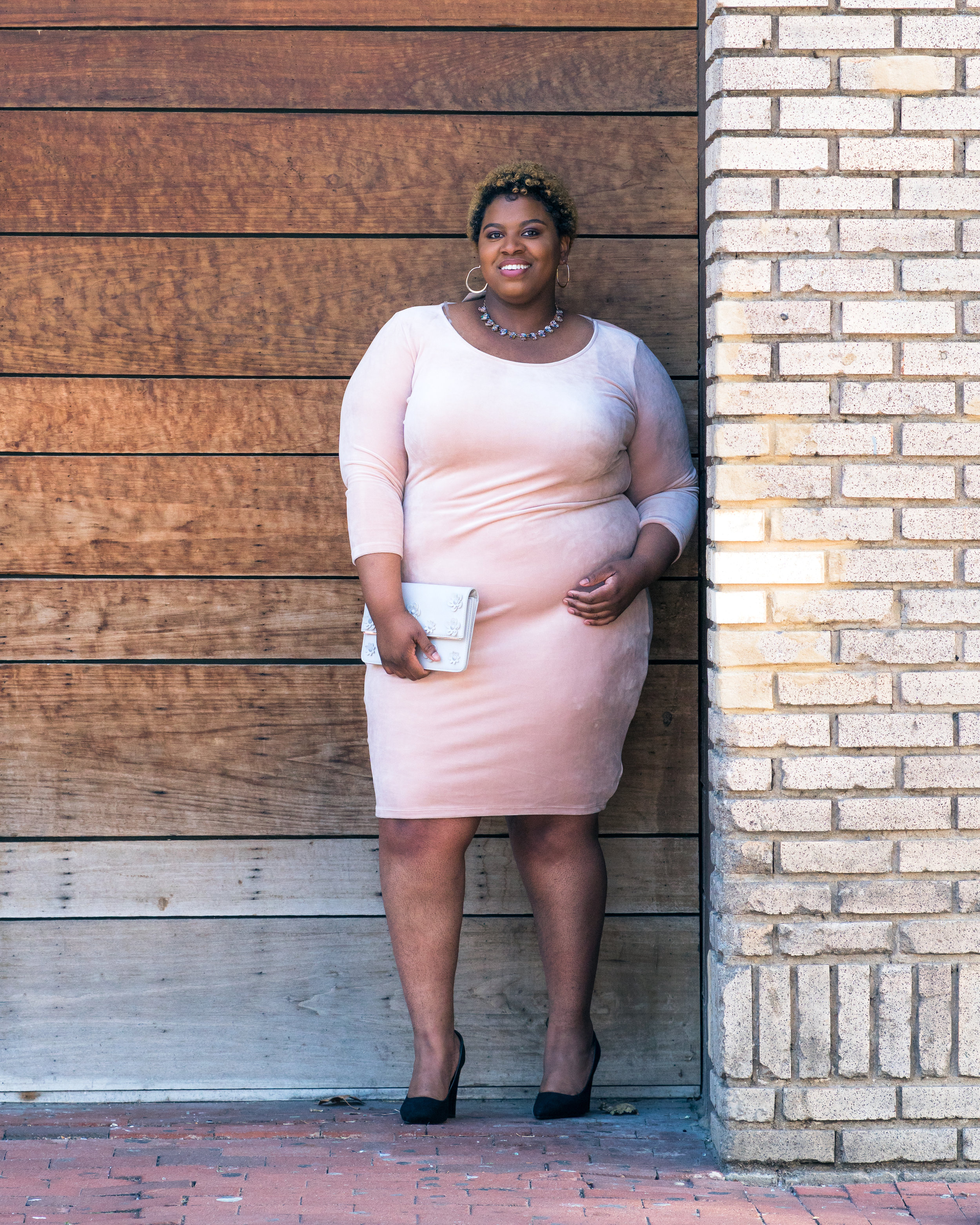 Pink velvet dress plus size