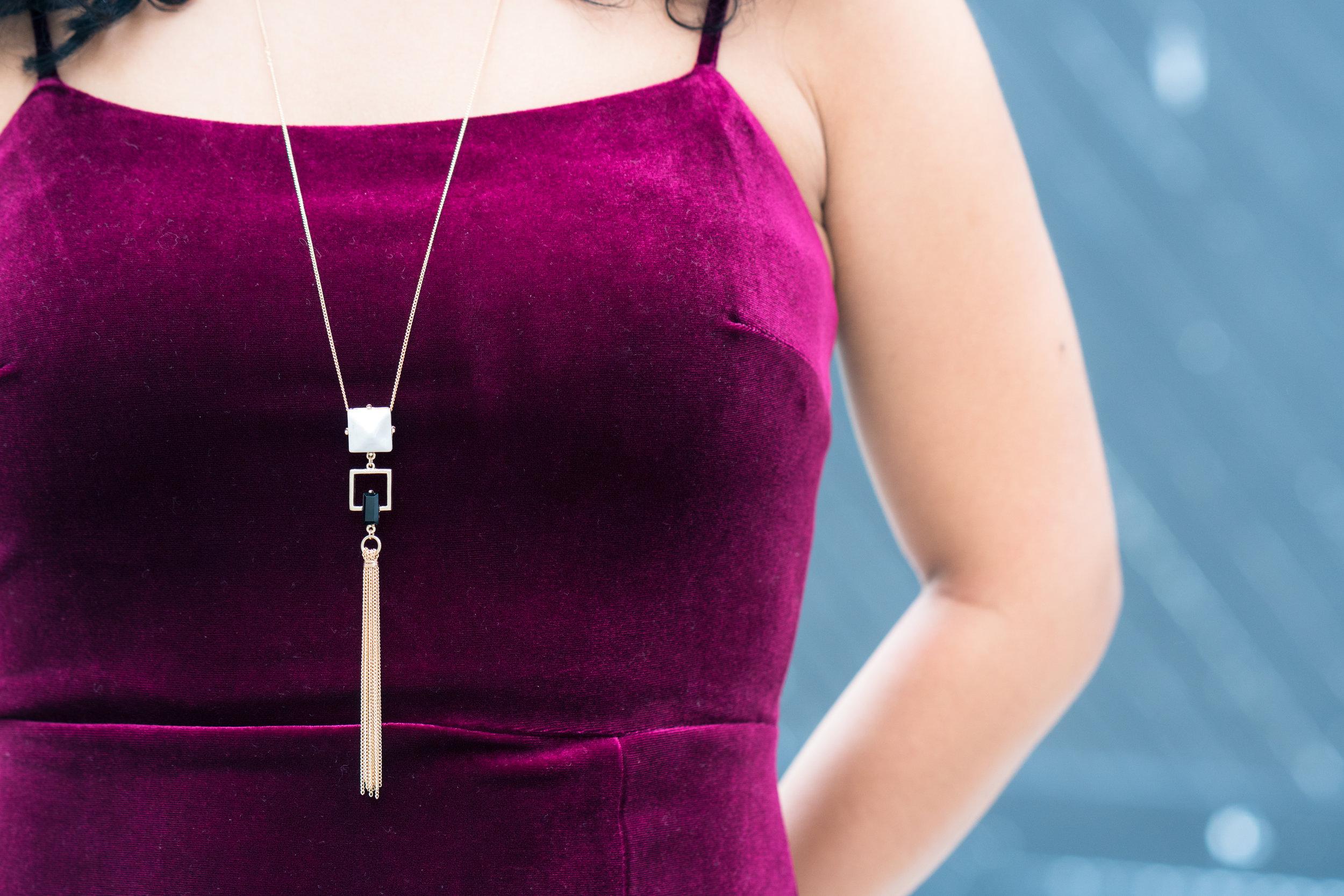 Cranberry velvet spaghetti strap dress