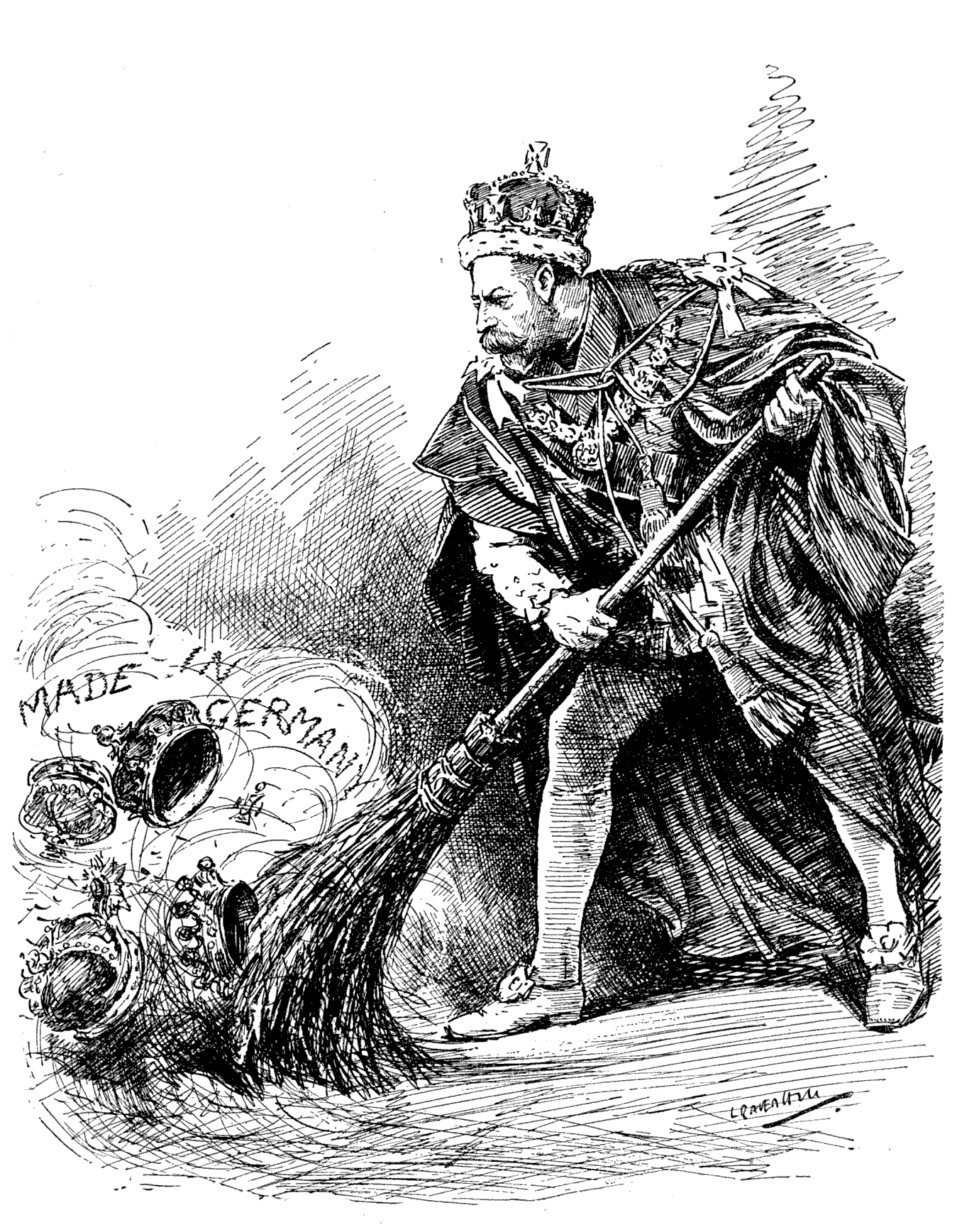 George V getting rid of German titles - in order to save his own! (Leonard Raven-Hill, 1917, Public Domain)