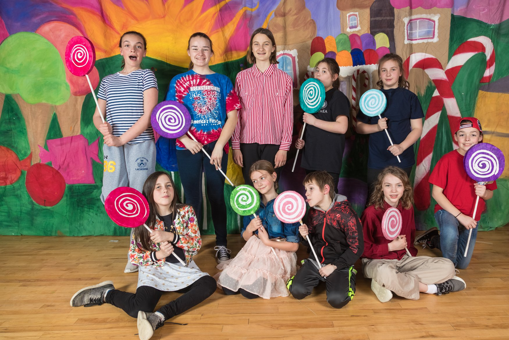 The sweet cast of Willy Wonka, Jr. at Pawling Middle School.