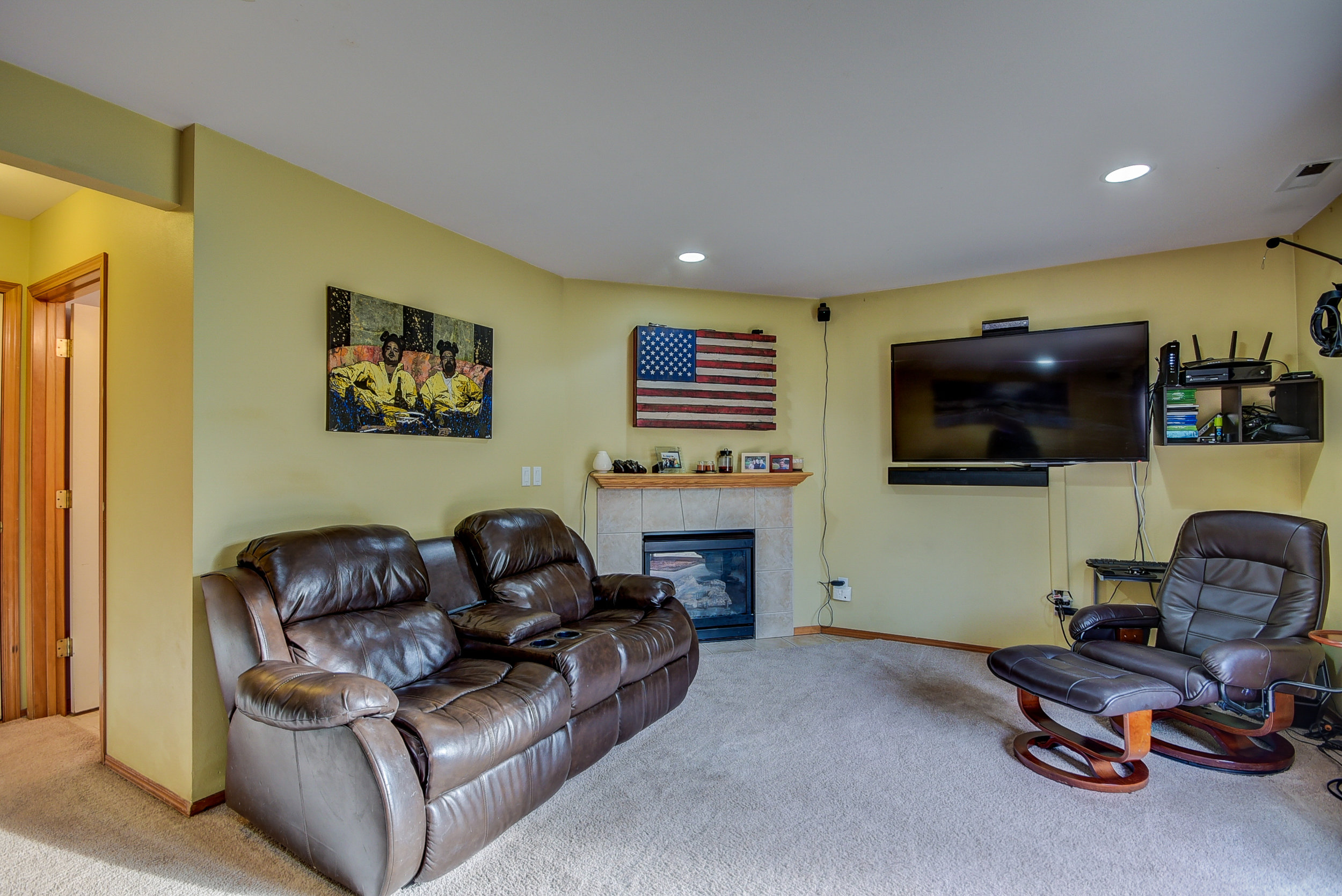 You'll love having a cozy gas fireplace in the family room downstairs!