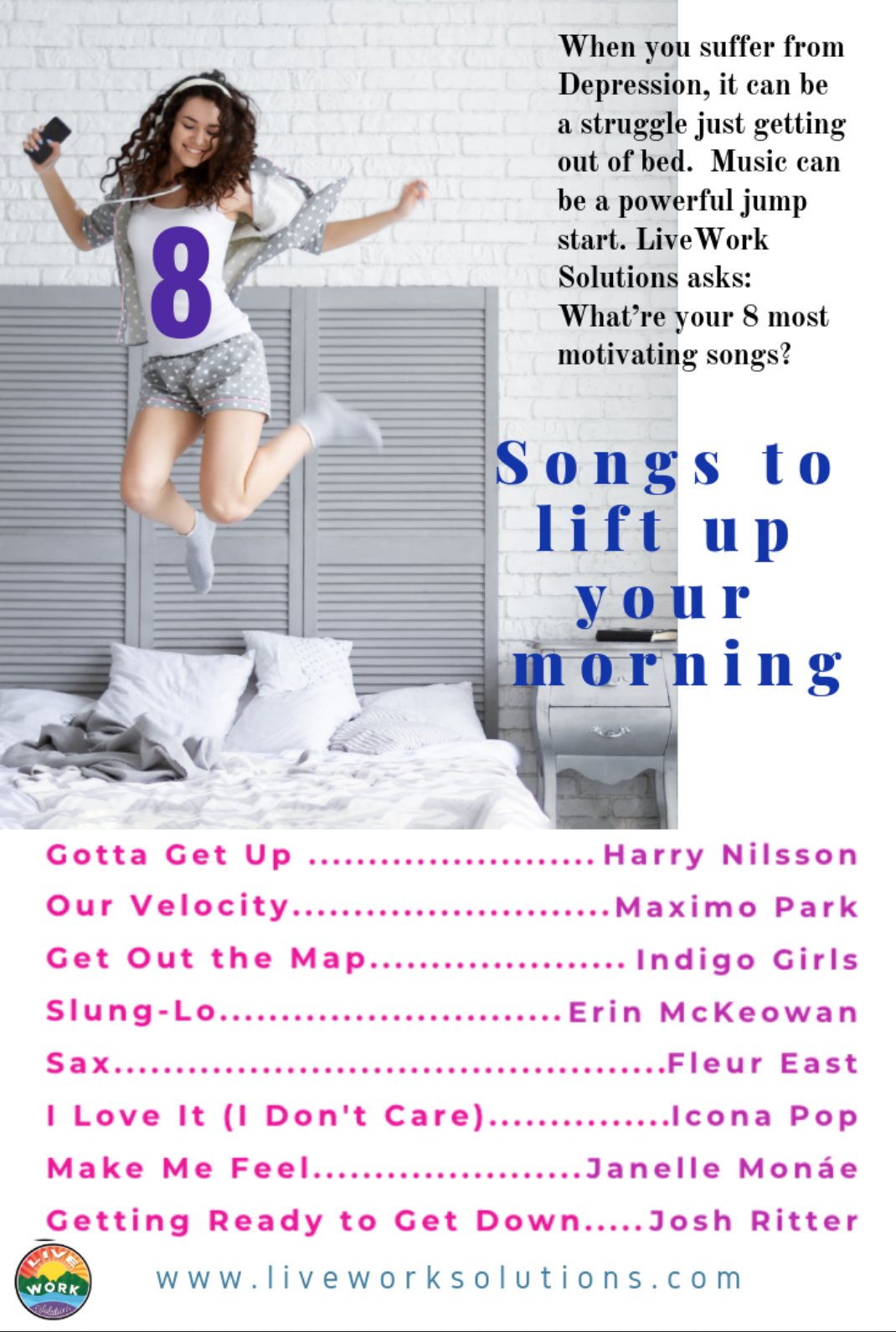 Getting Get-up & Go into Your Getting Up - Music Therapy can be as easy as making your own motivational playlist! Click on the Infographic to download, or contact us with your 8 favorite energetic tunes.