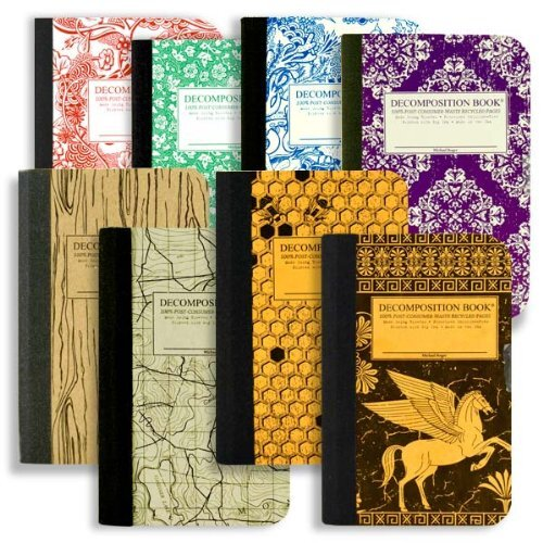 Mini Decomposition Books - This Pocket Sized Decomposition Bundle includes eight 4 by 6 inch composition notebooks made from 100% post-consumer waste recycled paper that was processed chlorine-free. Each book is also printed using soy-ink, which allows the papers to be recycled yet again. Made in the USA.