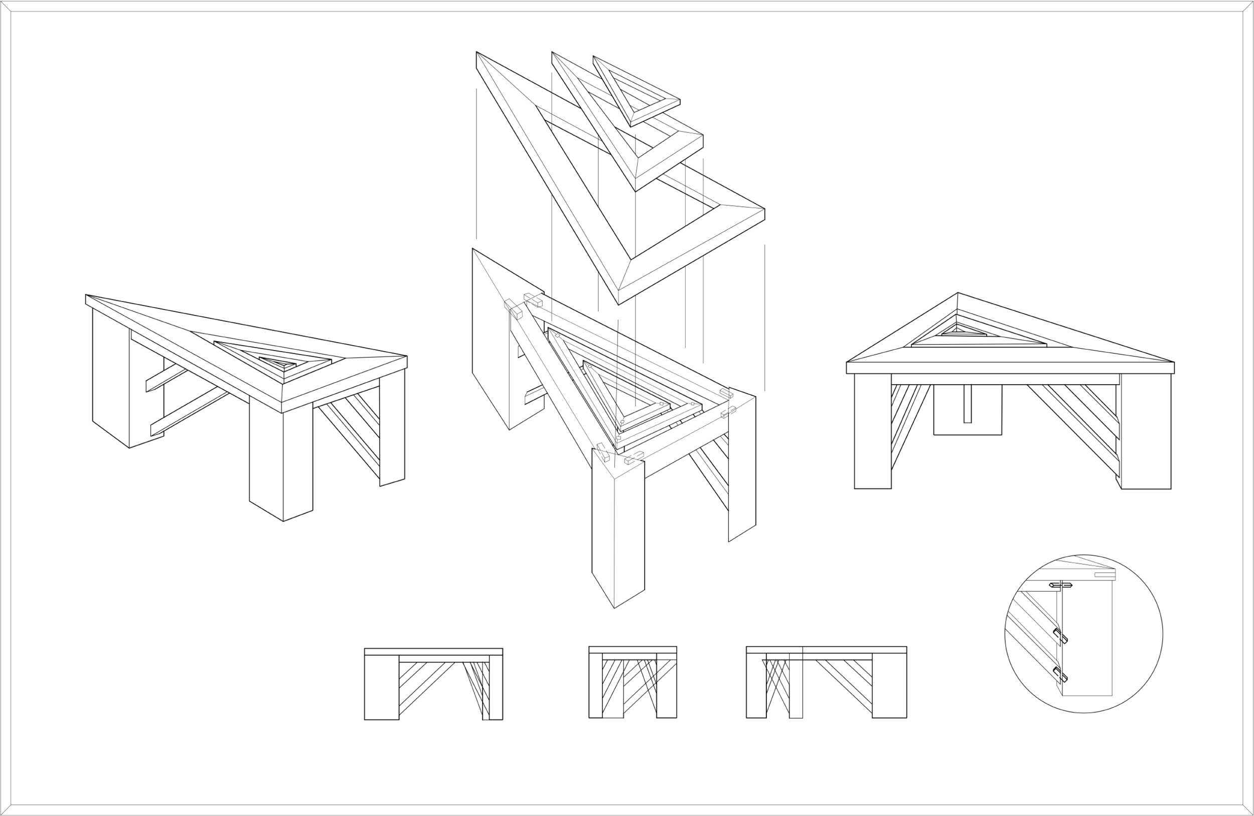 Triangle Table - Drawing created with AutoCAD.