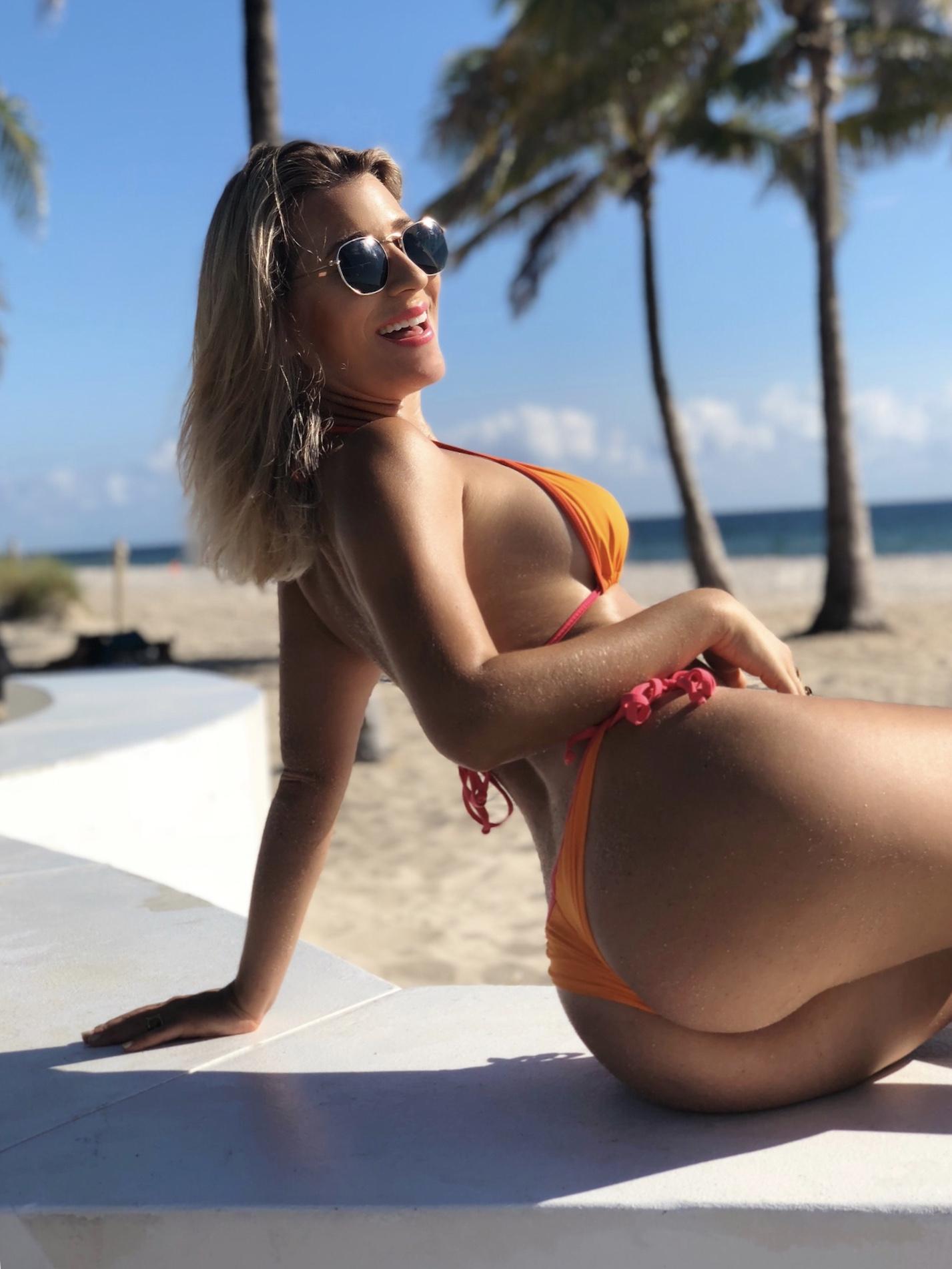 string bikini, orange string bikini