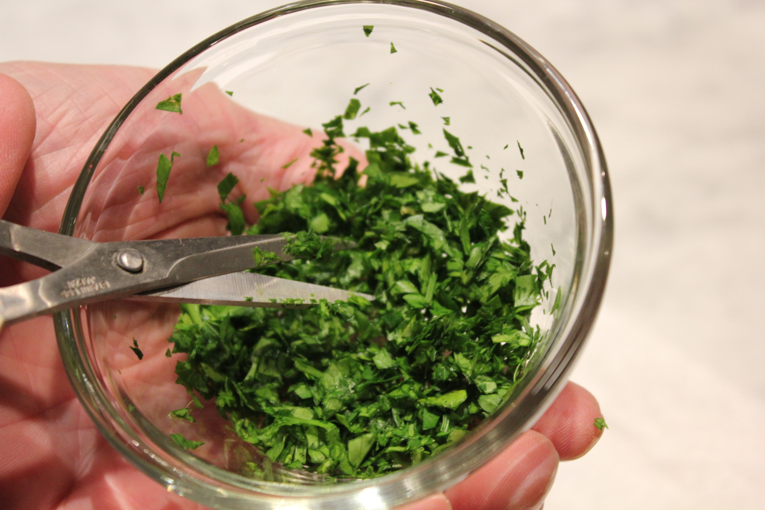 herbs chopped to desired size