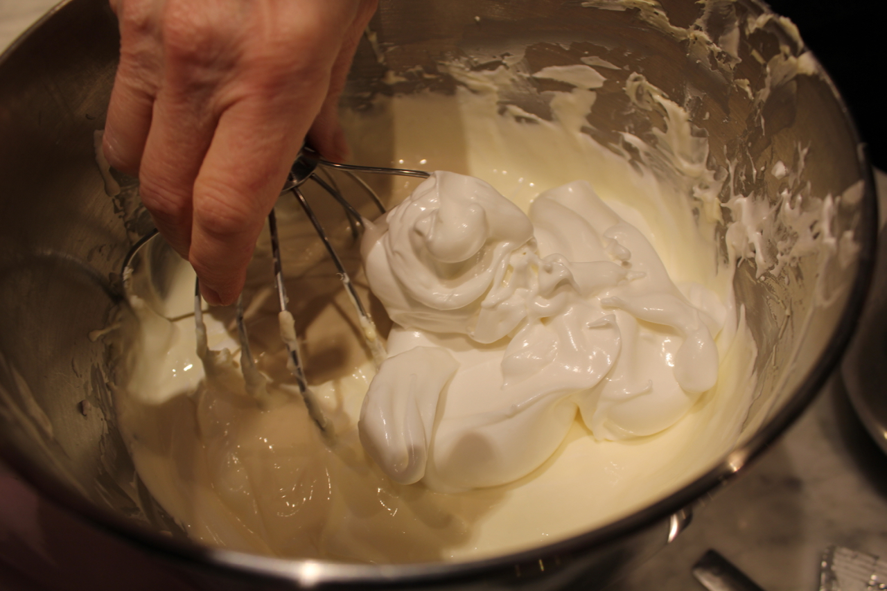 5) Use the whisk beater to fold in the meringue