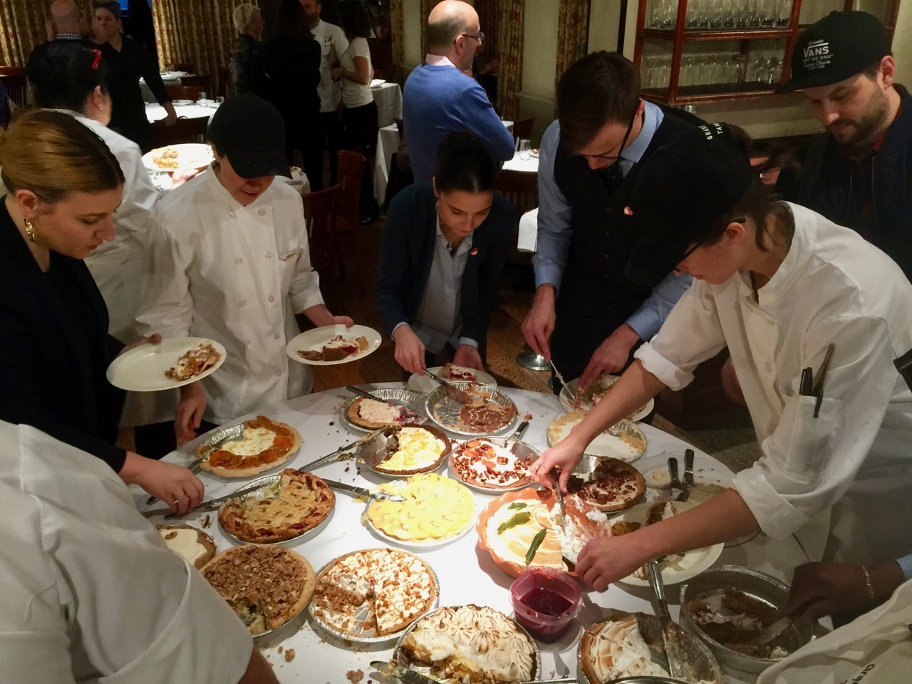 staff dig in for family dinner