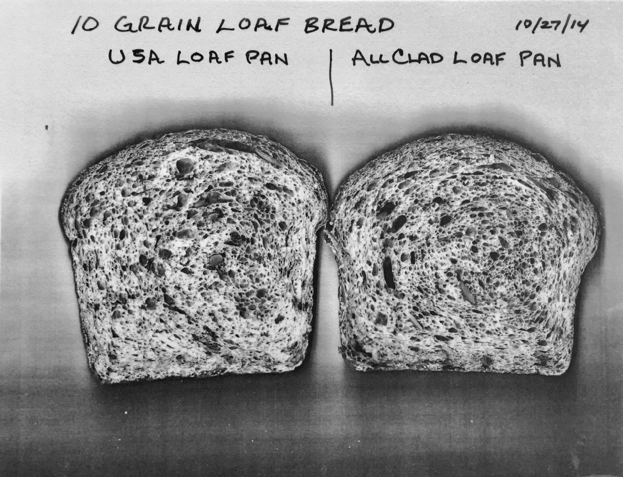 Testing usa vs all clad loaf pans for 10 grain (multigrain) bread
