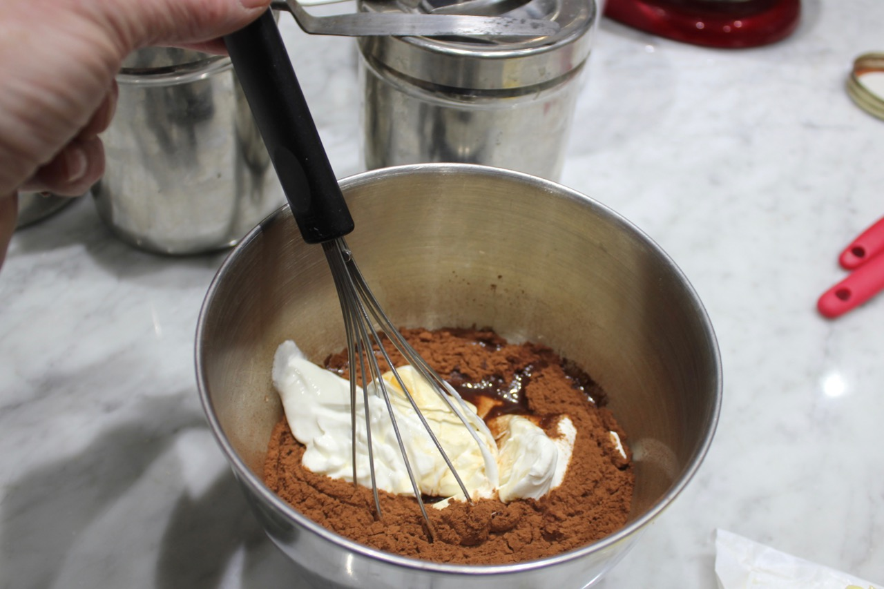 whisking cocoa and wet ingredients
