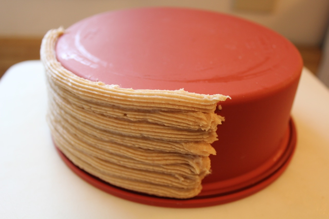 "9) piped first stack of churro batter ""ropes"""