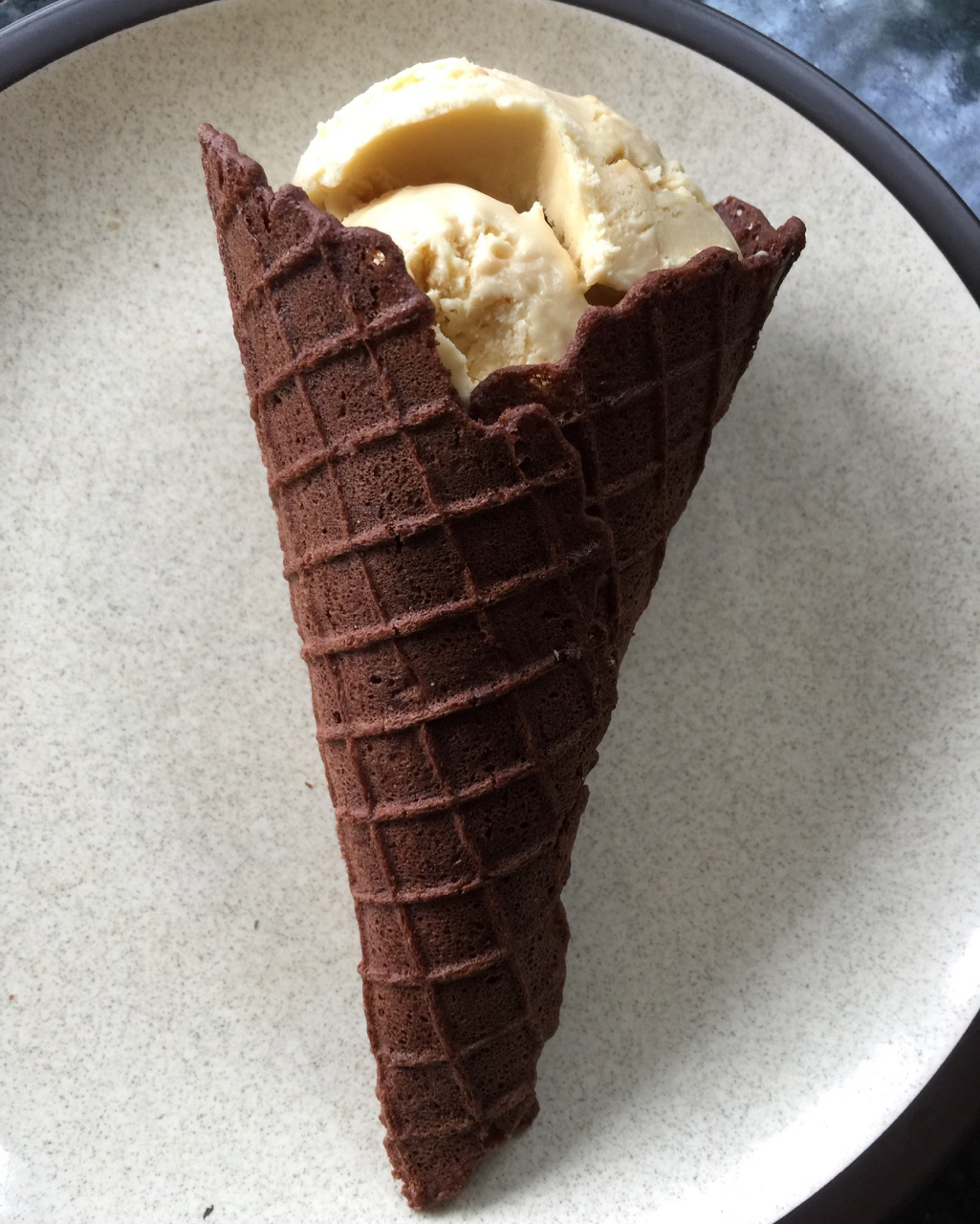 chocolate wafer cone with vanilla ice cream