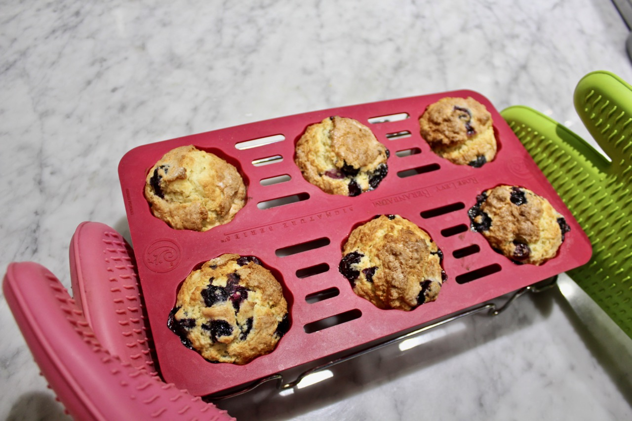 Blueberry muffins with grated lemon zest to enhance their flavor