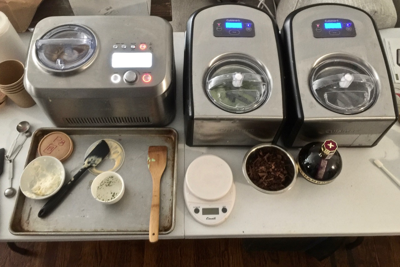 Woody's work station of ice cream makers