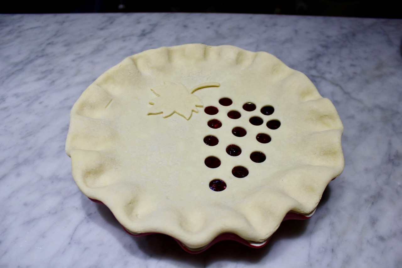 concord grape pie ready to bake