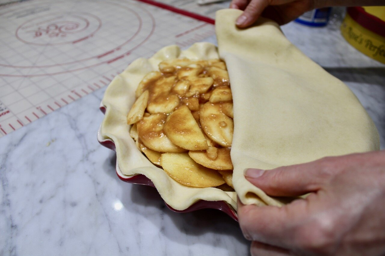 top crust folded over apples