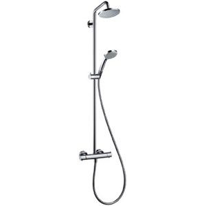 Shower Fixture - For delivering the complete shower experience we selected a very functional and well-reviewed Hansgrohe Croma showerpipe fixture with a rain shower and a massage head.