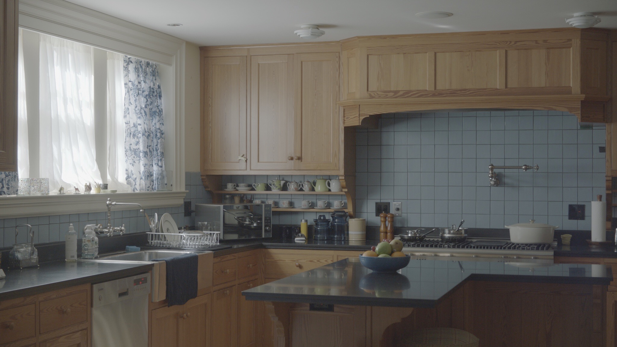The kitchen ready for filming