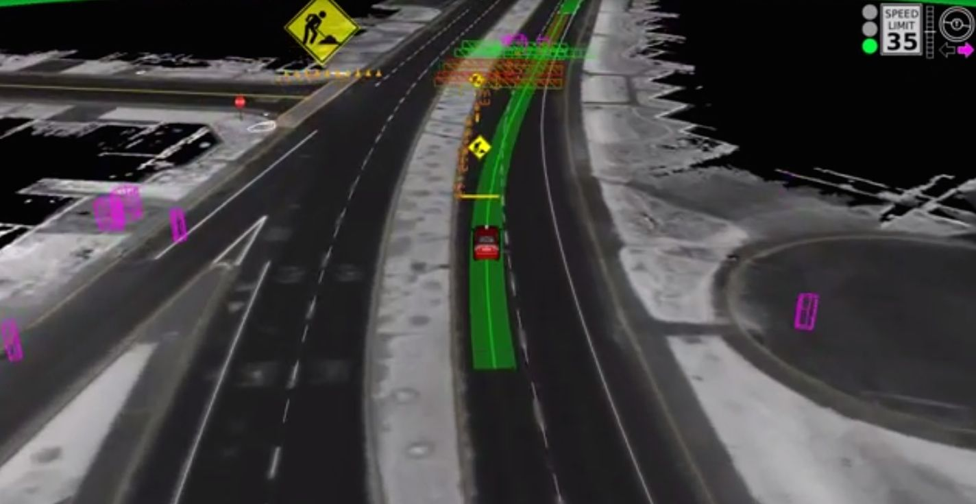 This is how a self-driving car sees the world