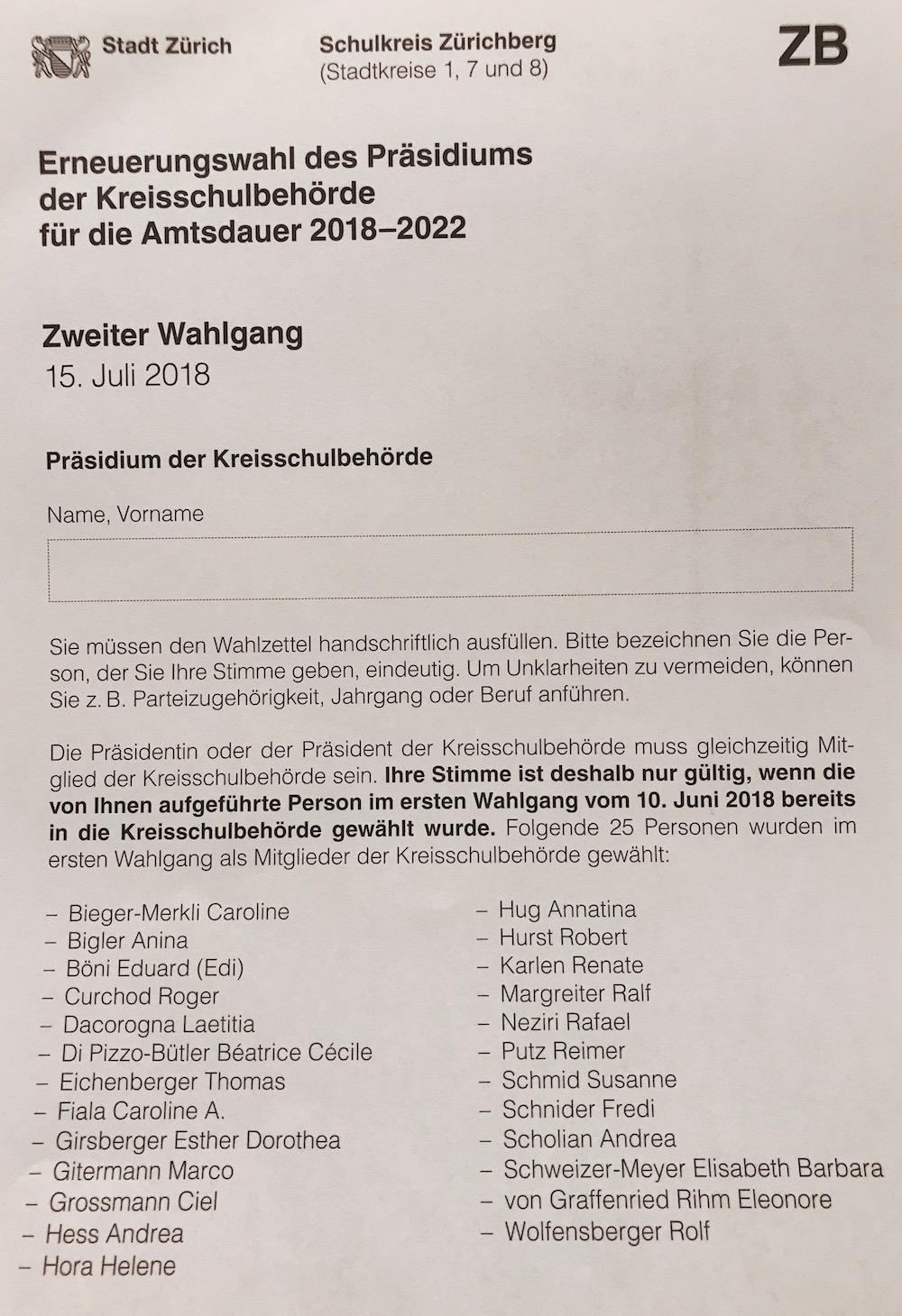 Alle 25 wählbaren Kandidaten für das Schulpräsidium im Schulkreis Zürichberg (Amtsperiode 2018-2022)