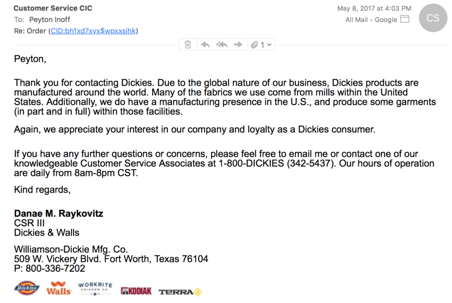 *image of my personal email response from dickies