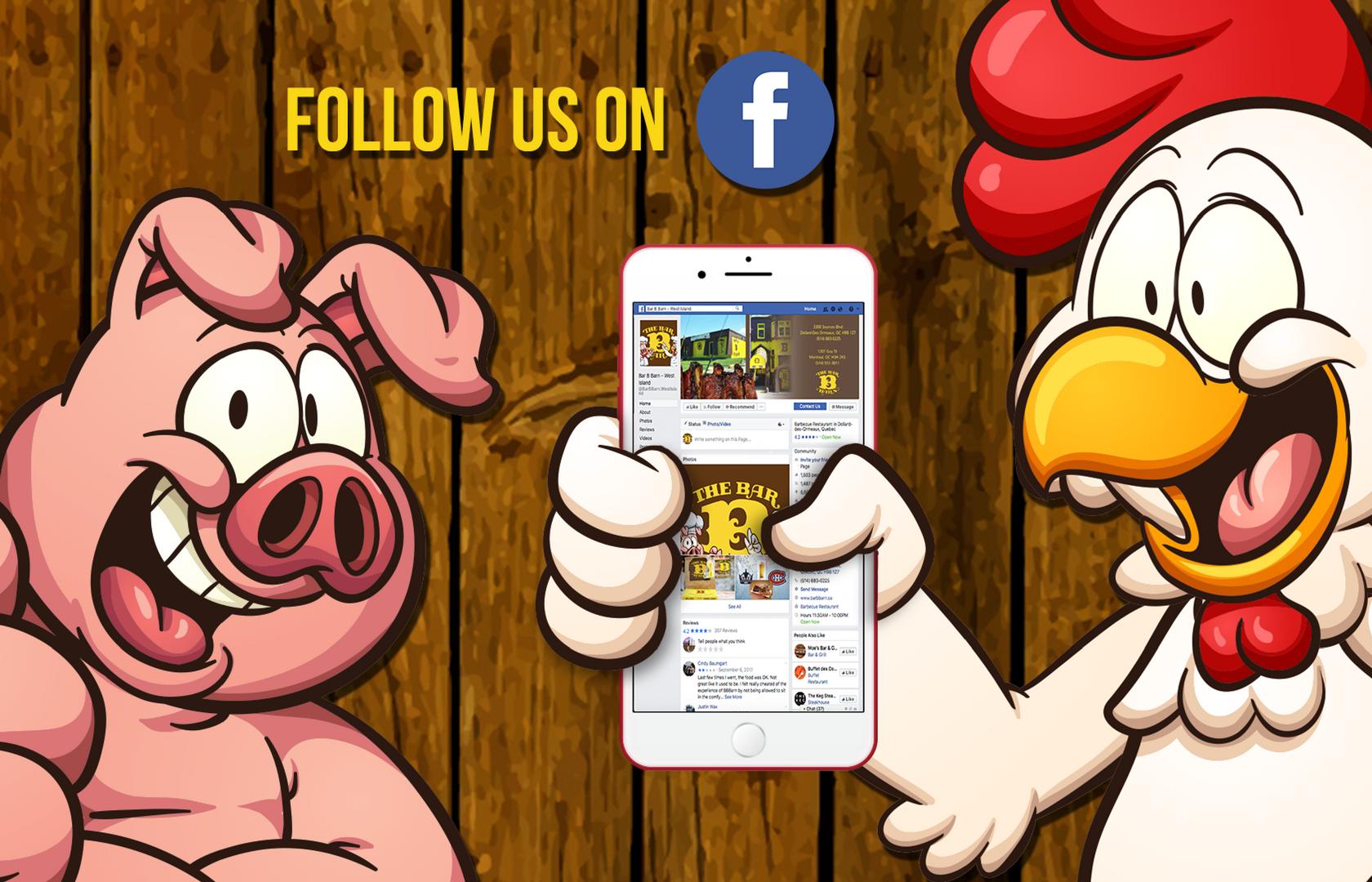 RÉSEAUX-SOCIAUX - Soyez sûr d'aimer la page Facebook officielle du Bar-B Barn pour rester à jour sur toutes les nouveautés, concours et promotions de notre restaurant.