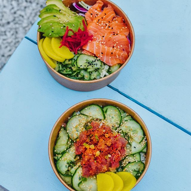 Our special this weekend, tuna tartare, finished with togarashi, 7 spice and house pickles cucumbers! salmon avocado up there too! Come check us @pergolalondon Wednesday-Sunday and of course @broadwaymarket every Saturday!  #japanesefood #streetfood #sushi #donburi #pergola #paddington #hackney #broadwaymarket #spicytunadonburi