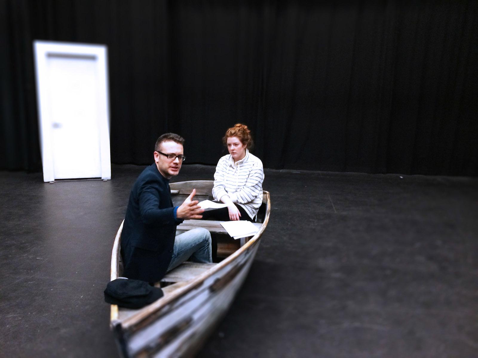 Rehearsal Photo of  Drifting   L-R: Simon MacIntyre and Taylor Scott