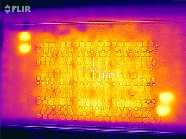 Thermal image showing the LED array within FluxScale operating at full power, indicating effective and uniform cooling due to the low board temperatures and absence of a central hot spot in the middle of the LED array.