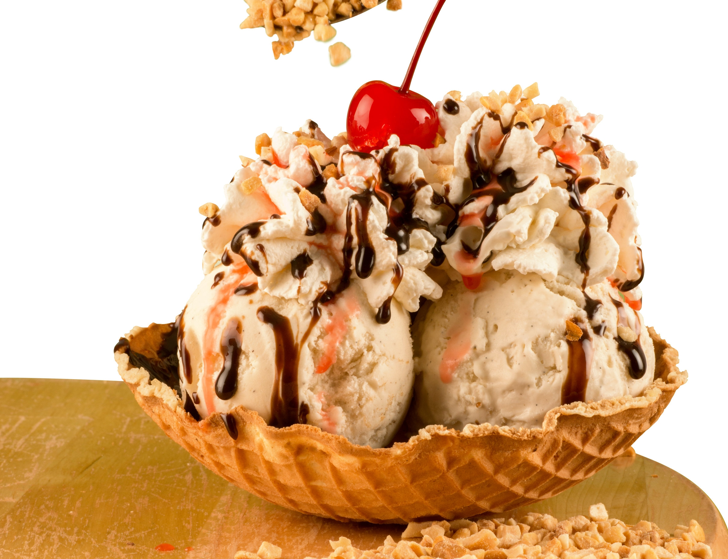 Butterfudge Sundae - Vanilla ice cream, whipped cream, fudge, peanuts and a cherry - $6.99
