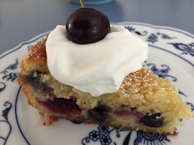 Cherry blueberry yogurt cake