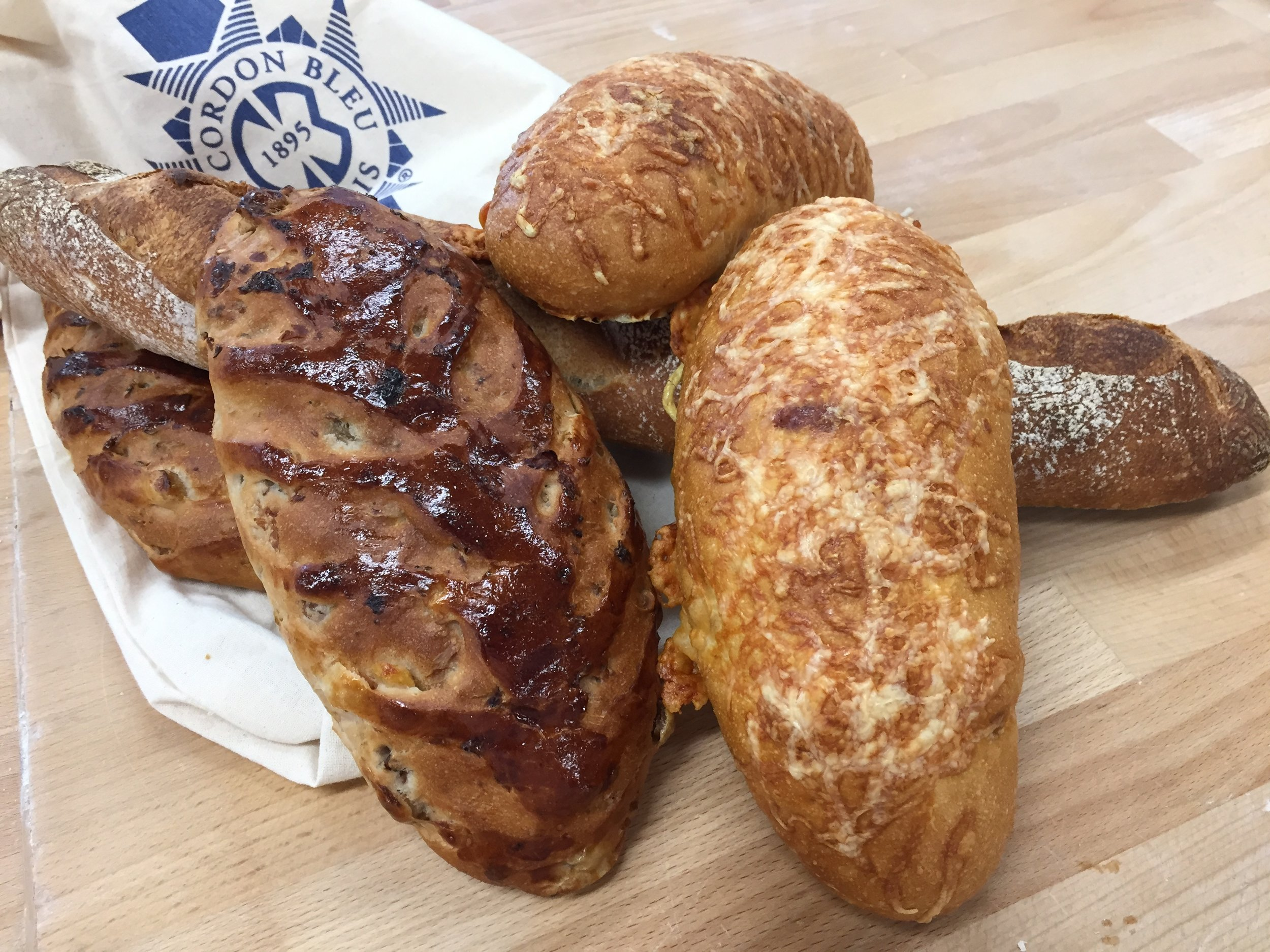 day 3 breads: walnut raisin, cheese, baguette tradition