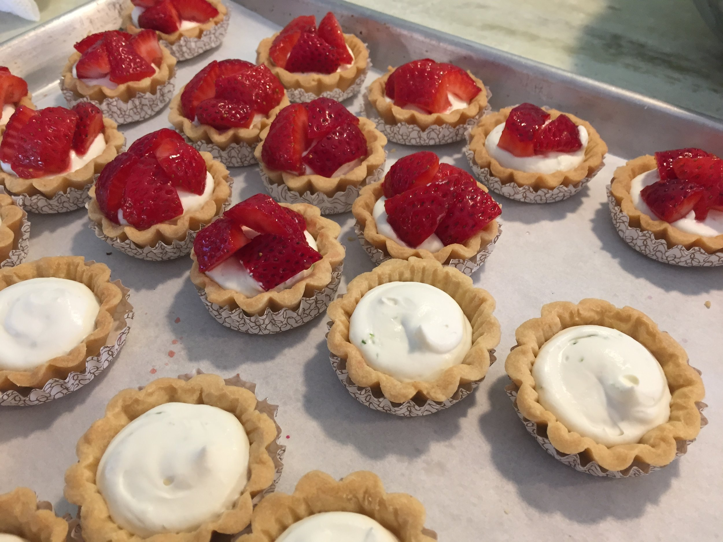 Strawberry  tartelettes  with lime cream