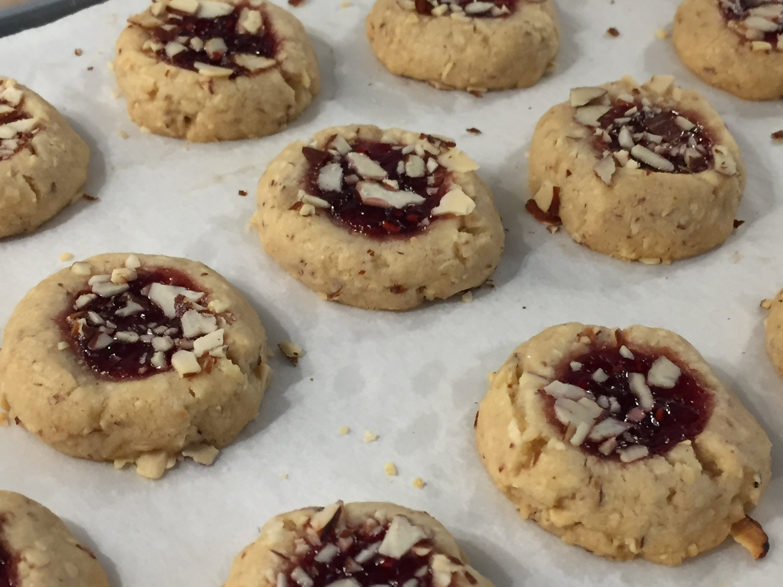 My current favorite cookie - Raspberry almond thumbprints