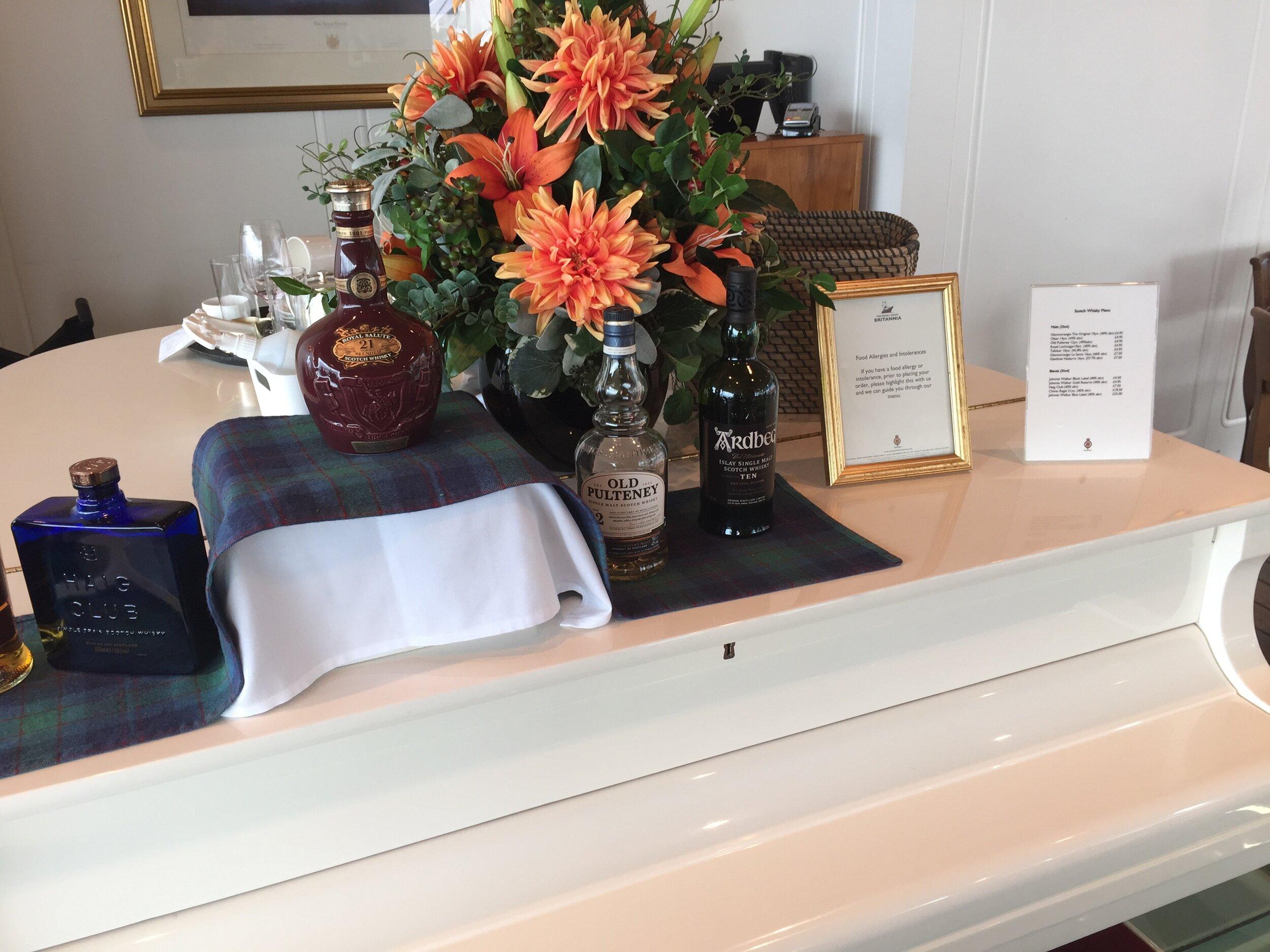 White piano display in the Britannia's tea room