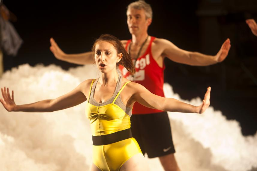 Nina Hatchwell gives comedic performance with her 'aerobics hour' -